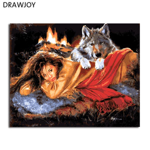 DRAWJOY Framed DIY Wall Paint Pictures Painting By Numbers Of Beauty Lady And Wolf Oil Painting Home Decor For Living Room
