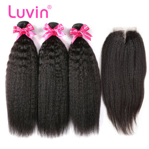Luvin Brazilian Hair 3 Bundles With Lace Closure 100% Human Hair Weave 3Pcs And Remy Hair Closure Bleached Knots Shipping Free