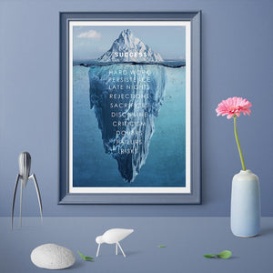 Success Inspiration Quote Canvas Painting Decor Iceberg Hidden Depths Wall Pictures