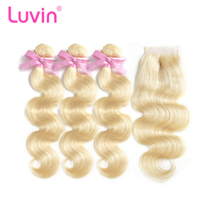 Luvin 613 Blonde Brazilian Body Wave Human Hair Bundles with Closure 3 Bundles Remy Hair Weft And 1 Piece 4X4 Lace Closure