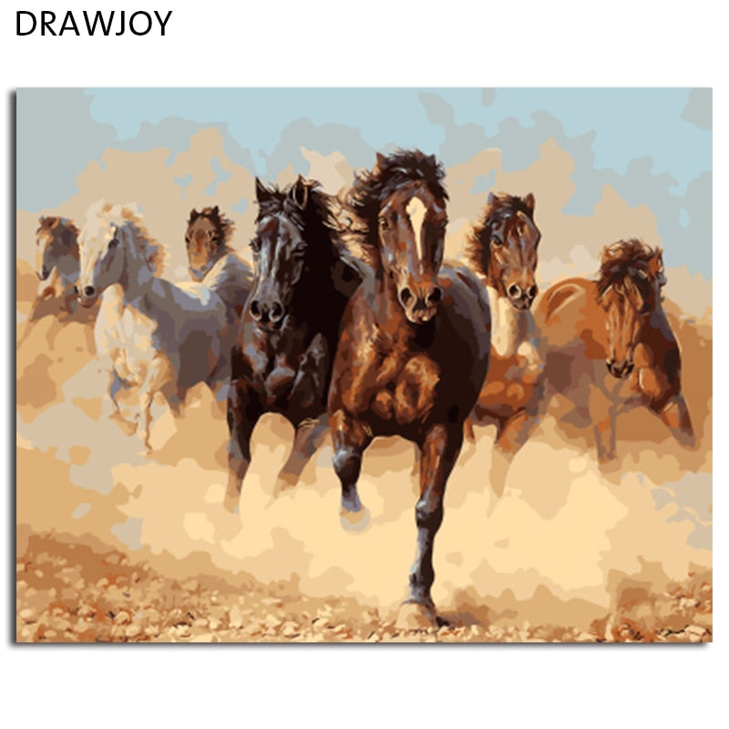 DRAWJOY Framed Pictures Painting & Calligraphy DIY Painting By Numbers Of Horses Animals Oil Painting Home Decor 40*50cm GX8945
