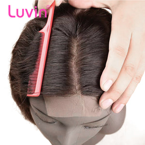 "Luvin Peruvian Silk Base Closure Straight 4""x3.5"" 100% Remy Human Hair Middle Part Bleached Knot With Baby Hair  Free Part"