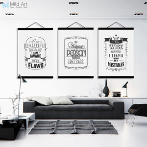Black White Typography Motivational Quotes Wooden Framed Poster Nordic Wall Art Print Picture Home Decor Canvas Painting Scroll