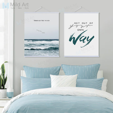Lighthouse Seascape Motivational Quotes Wooden Framed Poster Prints Nordic Wall Art Pictures Home Decor Canvans Paintings Scroll