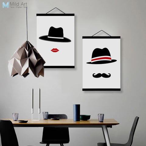 Contemporary Love Couple Hippie Hat Posters and Prints Wooden Framed Canvas Paintings Nordic Home Decor Wall Art Pictures Scroll