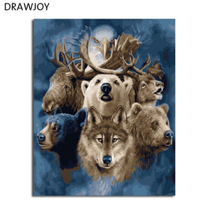 DRAWJOY Framed Picture Painting & Calligraphy Of Animals DIY Painting By Numbers Coloring By Numbers Home Decor