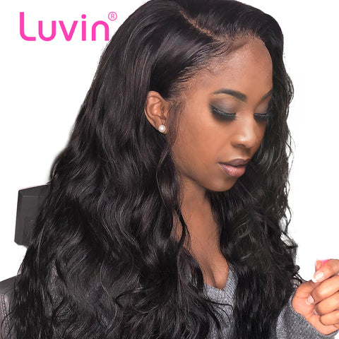 Luvin 360 Lace Frontal Wigs For Women Black Pre Plucked With Baby Hair Brazilian Body Wave Human Hair  Lace Front long Wig