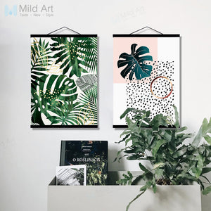Green Plants Monstera Leaf Wooden Framed Poster Print Scandinavian Living Room Wall Art Picture Home DecorCanvas Painting Scroll