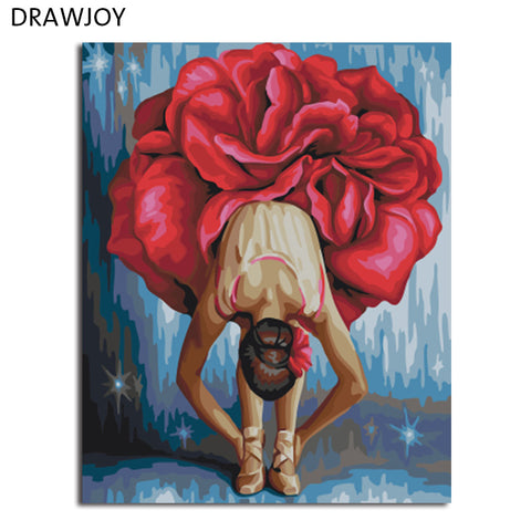 DRAWJOY Framed DIY Wall Paint Pictures Painting By Numbers Of Beauty Ballet Girl Oil Painting Home Decor For Living Room