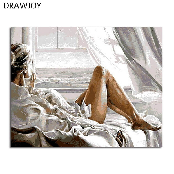 DRAWJOY Framed Home Decor Pictures DIY Painting By Numbers Digital Oil Painting On Canvas Beauty Lady Wall Art