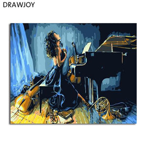 DRAWJOY Figure Painting Framed Picture DIY Painting By Numbers Canvas Oil Painting Beauty Lady For Living Room