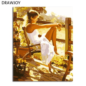 DRAWJOY DIY Framed Pictures Painting By Numbers Of Beauty Lady DIY Canvas Oil Painting Home Decor For Living Room