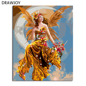 DRAWJOY Framed Picture DIY Painting By Numbers Home Decor For Living Room DIY Canvas Oil Painting Wall Art 40*50cm