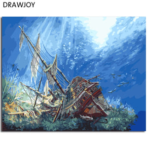 DRAWJOY Seascape Canvas Painting By Numbers Framed Wall Pictures DIY Canvas Oil Painting Home Decor For Living Room