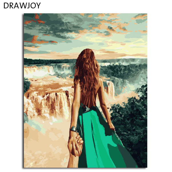 DRAWJOY Figure Painting Framed Picture DIY Painting By Numbers Canvas Oil Painting For Living Room Wall Art