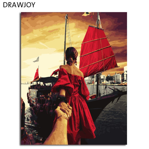 DRAWJOY Framed Wall Art Pictures Painting By Numbers DIY Canvas Oil Painting Home Decor For Living Room Wall