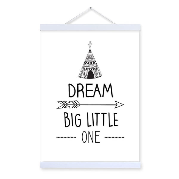 Black and White Typography Dream Quotes Wooden Framed Canvas Painting Kids Baby Room Decor Wall Art Pictures Poster Print Scroll