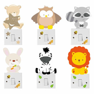 Cartoon Animal Bear Owl Zebra Color Light Switch Wall Stickers For Kids Rooms Wall Art