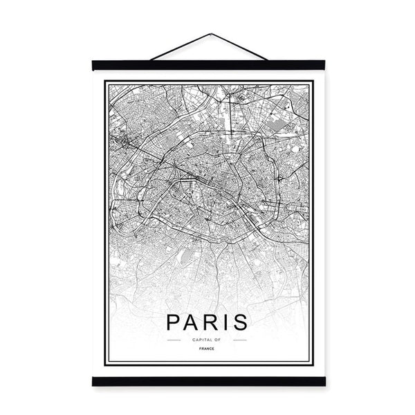 Black White Moscow Paris Berlin World City Map Wooden Framed Posters Scroll Wall Art Pictures Nordic Home Decor Canvas Painting