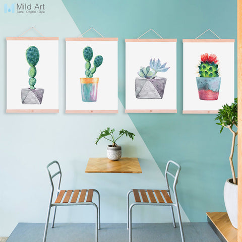 Watercolor Green Plant Cactus Succulent Cactus Wooden Framed Posters Nordic Wall Art Canvas Paintings Home Decor Pictures Scroll