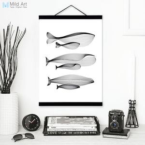 Black White Modern Abstract Whale Family Wooden Framed Canvas Paintings Minimalist Nordic Scroll Wall Art Pictures Poster Hanger