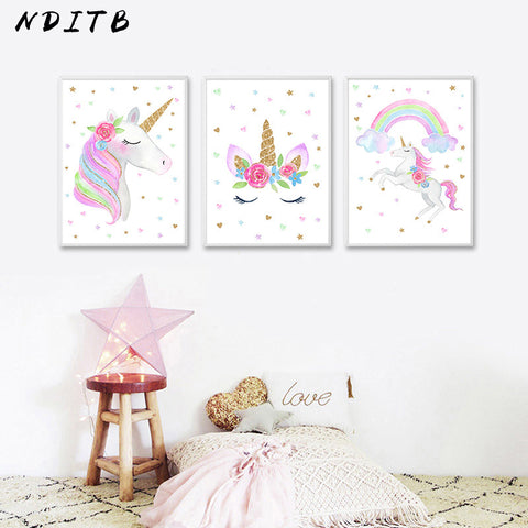 Cute Children Poster Rainbow Unicorn Canvas Wall Art Print Painting Decoration Picture