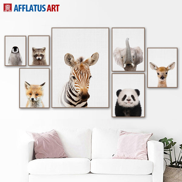 Nordic Poster Cartoon Zebra Deer Panda Fox Wall Art Canvas Painting Posters And Prints
