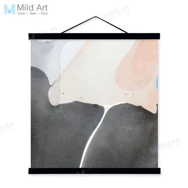 Watercolor Abstract Black Pink Geomatric Wooden Framed Canvas Painting Nordic Wall Art Pictures Home Decor Poster Hanger Scroll