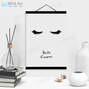 Black White Beauty Girl Wooden Framed Poster And Print Minimalist Nordic Scroll Wall Art Pictures Home Decor Canvas Painting