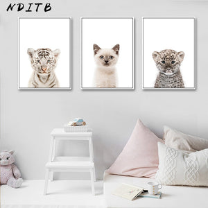 Baby Animal Cat Tiger Panda Wall Art Canvas Painting Nursery Nordic Posters and Prints