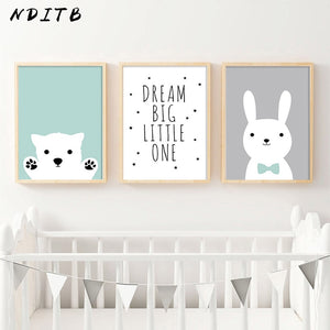 Kawaii Bear Rabbit Canvas Art Posters Woodland Animal Cartoon Nursery Prints Painting