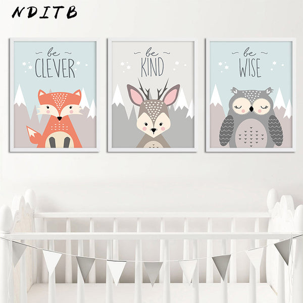 Woodland Animal Owl Deer Posters Nursery Prints Wall Art Canvas Painting Nordic Picture