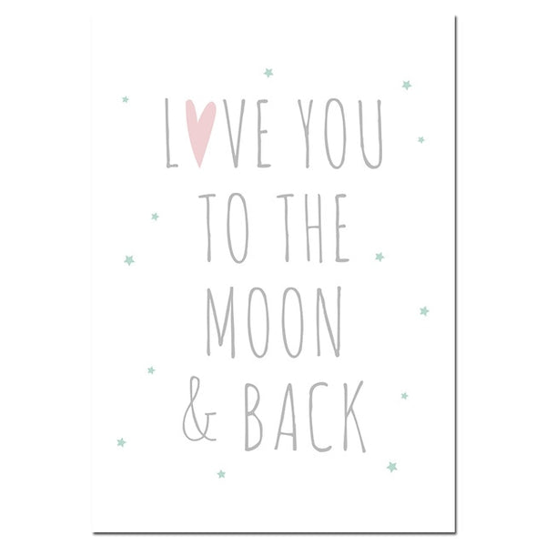 Cartoon Moon Star Canvas Art Posters Nursery Prints Painting Wall Picture Baby Room