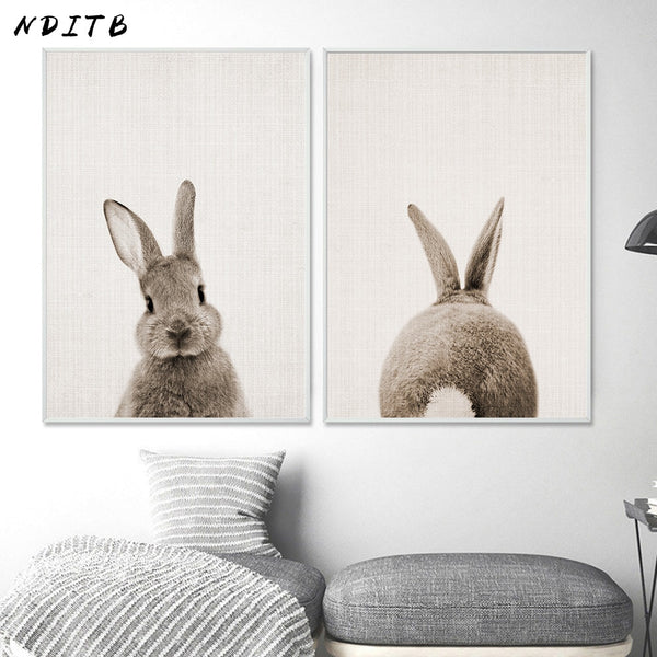 Rabbit Bunny Butt Tail Canvas Art Poster Woodland Baby Animal Nursery Print Painting
