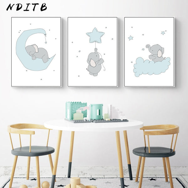 Cute Cartoon Elephant Moon Canvas Art Painting Posters Prints Decorative Picture Baby
