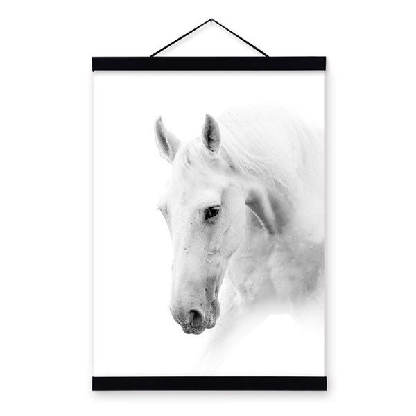 Black White Horse Posters Prints Nordic Style Home Decor Living Room Big Scroll Wall Art Pictures Wooden Framed Canvas Paintings