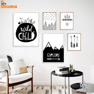 Arrow Explore Child Wall Art Print Canvas Painting Nordic Poster Black White Cartoon