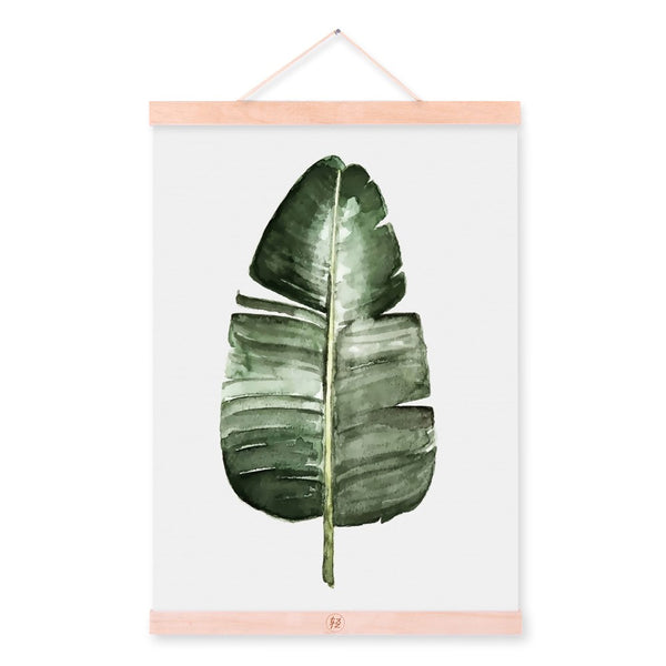 Watercolor Green Plant Leaf Poster A4 Wooden Framed Canvas Painting Modern Nordic Living Room Home Decor Wall Art Picture Scroll