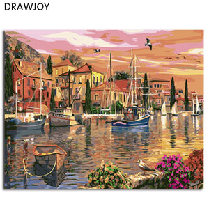 DRAWJOY Framed Picture Painting & Calligraphy Landscape DIY Painting By Numbers Home Decor For Living Room Wall Art