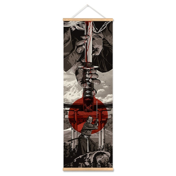 Japan Samurai Poster and Prints Scroll Painting Canvas