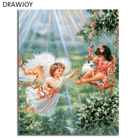 DRAWJOY Framed DIY Wall Paint Pictures Beauty Girls Painting By Numbers Oil Painting Home Decor For Living Room