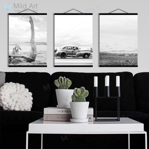 Sea Beach Tree Landscape Vintage Car Wooden Framed Poster Prints Scandinavian Wall Art Picture Home Decor Canvas Painting Scroll