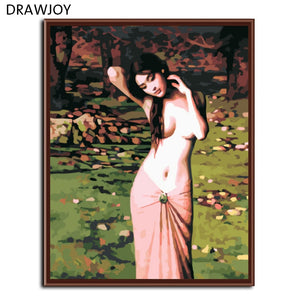 DRAWJOY Sexy Lady  Framed Picture DIY Painting By Numbers Acrylic Painting On Canvas Oil Painting Home Decor For Living Room
