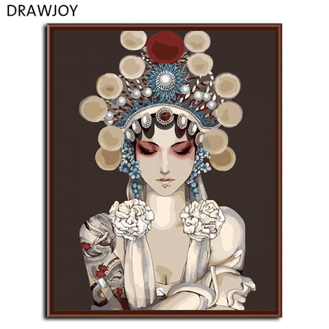 DRAWJOY Framed DIY Painting By Numbers Wall Art Handwork On Canvas Abstract Painting China Drama For Home Decor 40x50