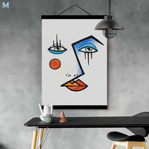 Contemporary Abstract Face Picasso Poster and Print Wooden Framed Canvas Painting Living Room Home Decor Wall Art Picture Scroll