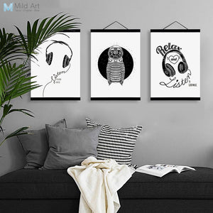 Black White Abstract Music Triptych Wooden Framed Canvas Paintings Modern Nordic Home Decor Wall Art Print Picture Poster Scroll