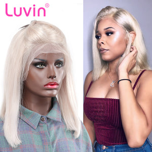 Luvin Silver Grey Short Glueless Lace Front Human Hair BOB Wigs With Baby Hair  Brazilian Remy Hair Wigs Bleached Knots