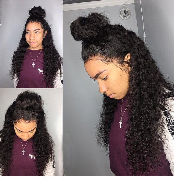 Luvin 360 Lace Frontal Wig Pre Plucked With Baby Hair Brazilian Deep Wave Wigs For Black Women Water Wave Remy Human Hair Wigs