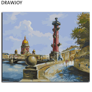 DRAWJOY Saint-Petersburg Framed Wall Pictures DIY Oil Painting By Numbers DIY Canvas Oil Painting Wall Art GX9616 40*50cm
