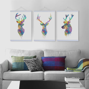 Watercolor Deer Head Wooden Framed Canvas Paintings Nordic Style Living Room Wall Art Pictures Home Decor Posters Hanger Scroll